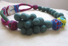 free form crocheted and felted necklace