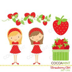 by cocoamint Strawberry Decorations, Girls Clips, Origami, Art Corner, Chalk Art, Paper Piecing, Paper Dolls, Crafts For Kids, Card Making
