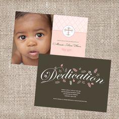 Christian Baby Dedication Christening Photo Invitation - Baby Girl - Two Sided
