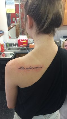Alis volat propriis ~ she flys with her own wings (cute and simple done at fine line tattoo)