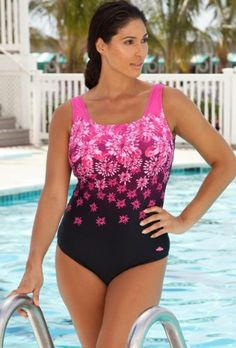 Aquabelle Chlorine Resistant! Pink Exploded Floral Plus Size Swimsuit Women`s Swimsuit (bestseller)