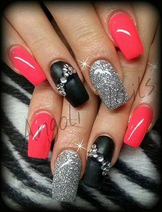 Matte black, silver glitter, neon pink bling nails