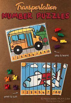 Transportation Number Puzzles Printable Number Strip Puzzles For Preschool Pre K And Kindergarten A Fun And Colorful Addition To Your Transportation Unit Transportation Preschool Activities, Preschool Puzzles, Transportation Activities, Preschool Learning Activities, Preschool Printables, Preschool Crafts, Preschool Kindergarten, Number Activities For Preschoolers, Numbers Preschool