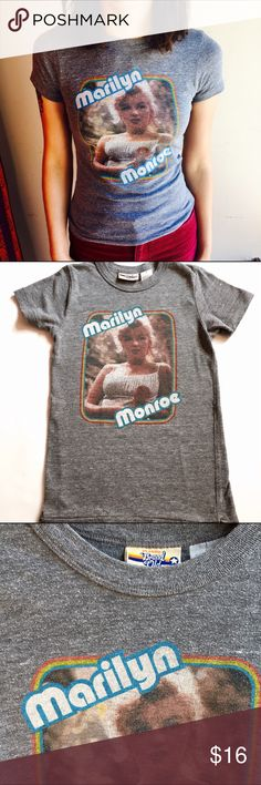 "Marilyn Monroe Tee Super 1970's style Marilyn Monroe T-shirt. Classic Brand Old label. Size S. Good for ladies S and XS. Vintage patina means it has a nicely aged look.  14.5"" under arms laying flat. 22"" length. Heather gray. Poly/cotton/rayon blend Vintage Tops Tees - Short Sleeve"