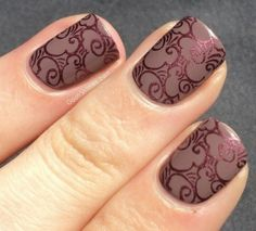 Matte nails with shimmering stamp