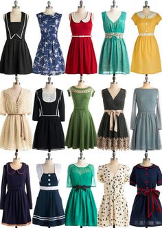 Beautiful vintage inspired frocks from Modcloth and found on Grosgrainfabulous.blogspot.com.