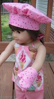 chef hat & apron for american girl dolls, plus more doll clothing tutorials American Girl Outfits, Ropa American Girl, American Girl Crafts, American Doll Clothes, Sewing Doll Clothes, Girl Doll Clothes, Doll Clothes Patterns, Doll Patterns, Girl Dolls