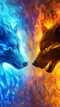 Hot Offer Fire and Ice by JoJoesArt Tapestry Wall Hanging Blue and Yellow Beach Mat Animal Wolf Printed Sheets Decorative Tapestry Fantasy Wolf, Fantasy Art, Cute Animal Drawings, Cool Drawings, Drawing Animals, Mythical Creatures Art, Wolf Spirit Animal, Wolf Artwork, Wolf Painting