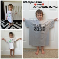 """Whether you have an infant, toddler, or school-aged child, Grow With Me Tee has the perfect photo prop tee for you!! From their """"baby's first year"""" onesie, to their preschool years ruler tee, to the """"class of"""" collegiate tee, click to read my review and enter to win your choice of tee in my $400 value 12-product jackpot Back to School #giveaway!! #spon #backtoschoolbonanza"""