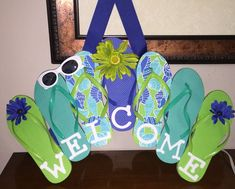 4f840b459 Flip flop welcome sign Flip Flop Wreaths