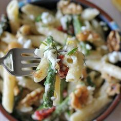 Creamy Meyer Lemon Pasta. Asparagus, sun dried tomatoes, goat cheese, lemon, garlic...Some of my faves together!
