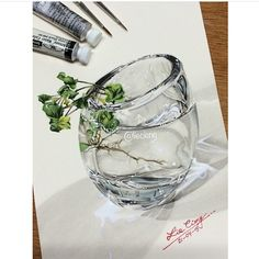 Extremely realistic oil painting of glass with plant hyper realism glass vase drawing by Realistic Oil Painting, Painting & Drawing, Z Photo, Watercolor, Drawings, Instagram Posts, Artist, Plant, Wall