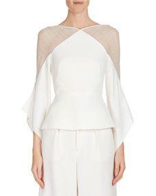 Roland Mouret Harthill Flutter-Sleeve Lace-Shoulder Top Blouse, Ivory, 10 US Style Couture, Couture Fashion, Fashion Vestidos, Fashion Dresses, Blouse Styles, Blouse Designs, Evening Tops, Roland Mouret, Mode Inspiration
