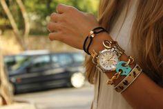 I love the old key as a bracelet. :)
