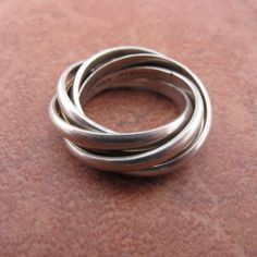 Sterling Silver Mexico Two Tone Six Band Ring Size:8 1/2 Weight:12.1#8403H