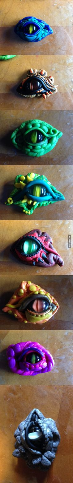 Dragon's eyes made out of clay and marbles.