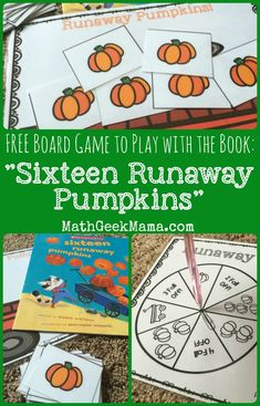 Runaway Pumpkins: FREE Math Board Game from Teach Junkie Runaway Pumpkins Free Board Game Free Board Games, Math Board Games, Printable Board Games, Math Boards, Math Resources, Math Activities, Autumn Activities, Therapy Activities, Easy Math Games