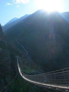 Visit Switzerland – Amazing Country in the Alps - Trift Suspension Bridge, Switzerland   #travel #adventure http://www.worldtraveltribe.com