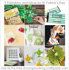 9 Ideas and Free Printables  for St.Patrick's Day at Scrapbooking Craft Gossip