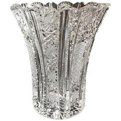 Crystal Glassware, Crystal Vase, Crystal Flower, Flower Vase Making, Flower Vases, Cut Glass Vase, Glass Art, Highball Glass, Bottle Art