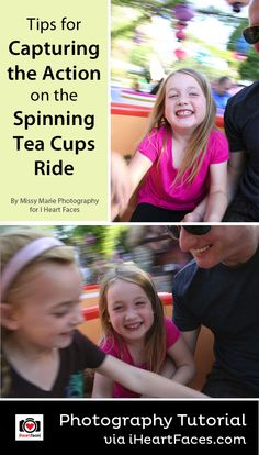 How to Take Action Photos on the Spinning Tea Cup Ride at Disneyland or Disneyworld! Great photography tip for a family vacation. iHeartFaces.com