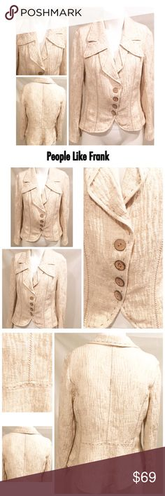 """People Like Frank Cotton Linen Jacket Blazer XL People Like Frank Peplum Oatmeal Cotton Linen Blend Beige Tan Jacket Blazer XL No stains No holes No pills   Unlined  Bust 20"""" (armpit to armpit) Shoulders 17"""" (top of shoulder seam to top of shoulder seam) Length 25"""" (middle top of collar to bottom hem in back)  Sleeve length 22"""" (top of shoulder seam to bottom sleeve hem) People Like Frank Jackets & Coats"""