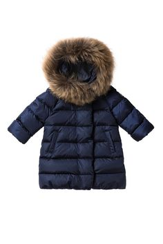 Italian Luxury BLUE DOWN-FILLED COAT WITH HOOD AND FUR | Il Gufo