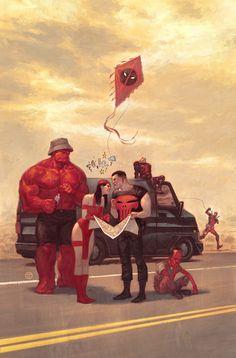 Thunderbolts -Marvel comics villians by Julian Totino Tedesco Heros Comics, Marvel Comics Art, Marvel Vs, Marvel Heroes, Punisher Marvel, Daredevil, Captain Marvel, Comic Book Characters, Marvel Characters