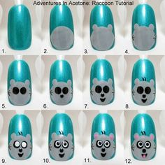 Adventures In Acetone: Tutorial Tuesday: Raccoon Nail Art! Cute Nail Art, Gel Nail Art, Easy Nail Art, Nail Polish Designs, Cute Nail Designs, Nails Decoradas, Animal Nail Art, Nails For Kids, Manicure E Pedicure