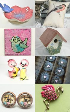 Epsteam's Birds In Pink by Helen on Etsy--Pinned with TreasuryPin.com