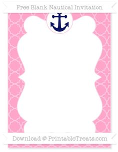 Free Carnation Pink Quatrefoil Pattern  Blank Nautical Invitation
