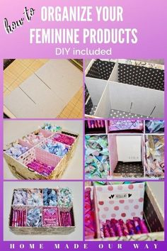 Check out this DIY for organizing your feminine products. Create a discrete, handy, and pretty organizer in your bathroom. Store your hygiene products so you can access them when you need them the most | storage ideas | menstrual products | sanitary napkins | tampons | organic cotton tampons | cups | sea sponge | pads | period box | just in case | repurpose | chipboard dividers | LOLA | THINX | monthly flow | cycle | CycleForwardNow | donate | storage container | feminine wipes | feminine…