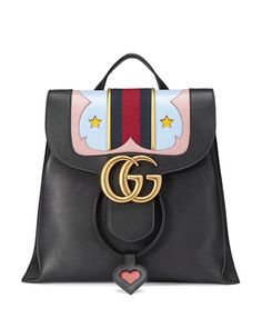 GUCCI Gg Marmont Leather Backpack, Black. #gucci #bags #leather #backpacks #