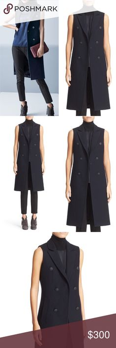 """Rag & Bone Fitted Faye Wool Navy Vest Coat N48 Rag & Bone Women's Vest Navy Salute Faye Hidden one-button closure, Notch collar, Side-seam pockets, logo-embossed buttons, Lined. Host Pick Retail $575 Size: 2  Shoulder: 13.75""""  Pit to Pit: 18.5""""  Waist: 16""""   Length: 41.25""""  Color: Navy Pattern: Solid Material: 70% Wool, 30% Polyester Country: China Style #: 5155138 Care: Dry Clean WT: 2.04 CSKU: N48; 66 Vest on model is for styling/fit reference only. Item on mannequin is for sale All…"""