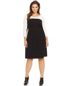 ING Plus Size Long-Sleeve Colorblocked Dress - Plus Size Clearance - Plus Sizes - Macy's