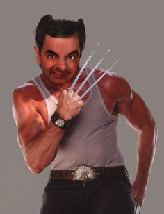 """""""Hugh Jackman as Wolverine gets to be both a super action hero and a heartthrob at the same time. This coming Thursday, he is being honored as the movie star he is with a star on the of right in front of Madame Tussaud's Hollywood Wax Museum. Hugh Jackman, Mr Bean Photoshop, Funny Images, Funny Pictures, Bing Images, Mr Bean Funny, Funny Character, Hello Ladies, Michael Phelps"""