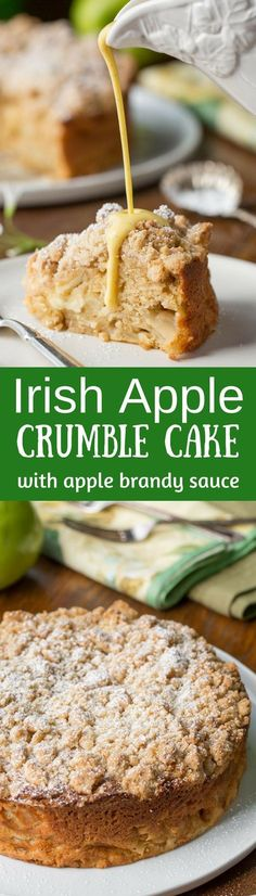 Irish Apple Crumble Cake with Apple Brandy Sauce ~ made with fresh apples, plenty of cinnamon, and a sweet crumble top, this rustic and moist cake is homey and delightful especially when drizzled with the Apple Brandy Sauce! http://www.savingdessert.com