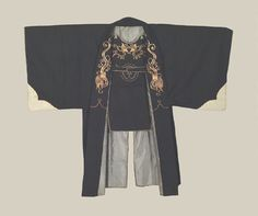 Samurai Fireman's Jacket, late Edo (1825-1868). A rare Edo jacket and bib set of a style that suggests it was once intended to be worn by a mounted flag-bearing samurai 'Daimyou' firefighter. The jacket and bib are of wool twill, with metallic couched mon and appropriate 'amaryu' (rain-dragon) motifs. The Kimono Gallery