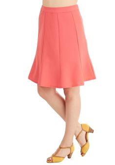 No Time Like the Presentable Skirt in Guava. We just know you're eager to craft a lovely look around this coral skirt! #coral #modcloth