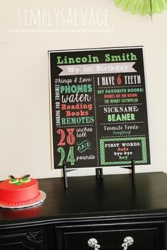 Chalkboard Milestone Poster DIY First Birthday Milestone Birthdays, First Birthdays, Hungry Caterpillar Party, First Birthday Parties, Chalkboard, Party Ideas, Eric Carle, Sign, Poster