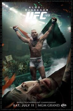 UNBIASED #UFC189 promo poster w/ Conor McGregor destroying Jose Aldo (fan-made) : if you love #MMA, you'll love the #MixedMartialArts inspired gear at CageCult: http://cagecult.com/mma