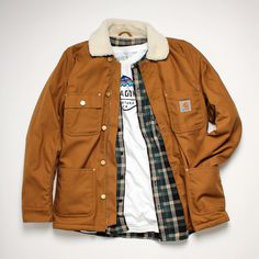 Carhartt WIP Phoenix Jacket, HUF Shirt and Patagonia T-Shirt combination
