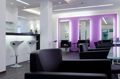 www.idea-friseure... #hair #beauty #salon #furniture #design #idea #friseureinrichtung #friseur #Einrichtung #luxury #hairdresser #Haare #Friseuren #style #Coiffeur #stylisch #arbeitsplätze #vieleplätze #hocker #stool #counter #theke #light #mirror #spiegel #lila #purple #flower #blumen