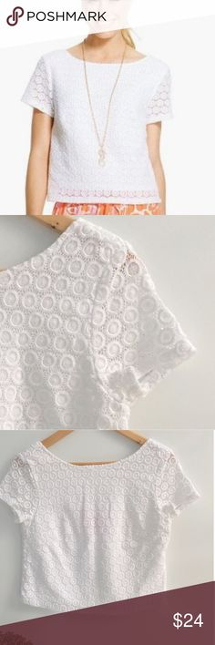"""LILLY PULITZER FOR TARGET Cropped Eyelet Top Gently used condition. Very versatile white top that can be worn dressy or casual. Side zip closure. Chest: 17"""". Waist: 17 3/4"""". Length: 18 1/2"""". Scoop back. Ask any questions before purchasing. Lilly Pulitzer for Target Tops"""