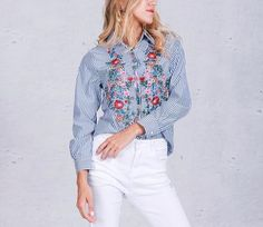 Flowers and Stripes Embroidered Blouse