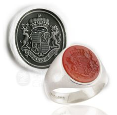 Cornelian Set Signet Ring - Engraved with Custom Arms ft. Supporters