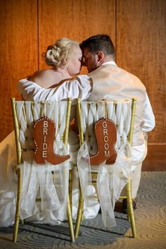 Cowboy boot Bride and Groom chair signs at a Walt Disney World Wedding Wedding Reception Decorations, Wedding Centerpieces, Wedding Ideas, Wedding Goals, Wedding Stuff, Cowboy Boot Centerpieces, Wedding Cowboy Boots, Disney World Wedding, Meaningful Pictures