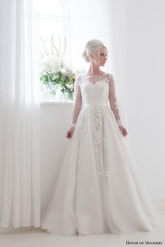 house of mooshki bridal 2015 long sleeves illusion neckline sweetheart lace bodice fairytale ball gown tulle overlays beading wedding dress style felicity full