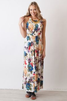 Painting in the Spring Floral Maxi Dress