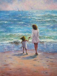 Mother Daughter Beach Art Print beach girls by VickieWadeFineArt
